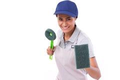 确信,专业女性擦净剂准备好义务 图库摄影