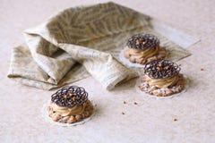 碎屑曲奇饼用焦糖乳脂干酪和装饰巧克力蔓藤花纹 库存照片