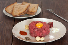 碎牛肉洋葱鸡蛋混合菜 免版税库存图片