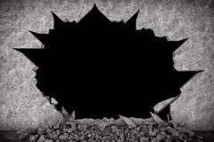破碎石块墙壁 免版税库存照片