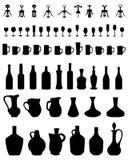 碗、瓶、玻璃和拔塞螺旋 免版税库存图片