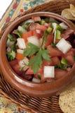 碗与芯片的墨西哥辣调味汁 图库摄影