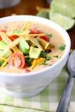 碗乳脂状的玉米粉薄烙饼汤 免版税库存照片