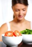 碗二棵蔬菜 免版税库存图片
