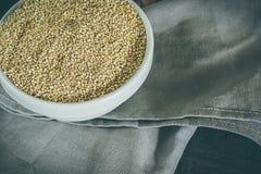 碗充满奎奴亚藜谷物 素食主义者的完善的盘 奎奴亚藜种子 免版税图库摄影