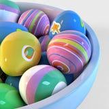 碗充满复活节彩蛋 免版税库存图片