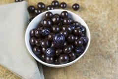 碗充满蓝莓和巧克力球 免版税库存照片