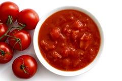 碗切好的蕃茄 库存图片