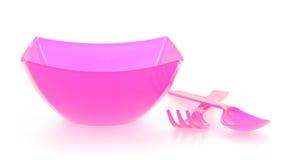 碗和塑料利器 免版税库存照片