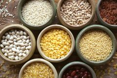 碗在小容器的各种各样的谷物在木背景,谷物混合,豆,芝麻,米,大麦米,麦子,特写镜头 库存照片