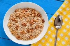 碗在小野鸭土气桌,热和健康食物的新鲜的燕麦粥核桃早餐 库存图片