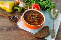 碗在桌上的传统汤罗宋汤 免版税图库摄影