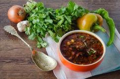 碗在桌上的传统汤罗宋汤 库存图片