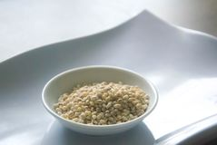 碗在白色板材的有机大麦米 库存照片