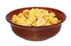 碗在白色背景隔绝的玉米片 免版税库存图片