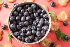 碗在红色背景的蓝莓与薄荷的叶子和心形的饼干 库存照片