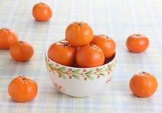 碗在野餐桌上的桔子 免版税库存照片