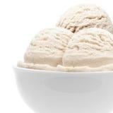 碗奶油色冰三倍 库存图片