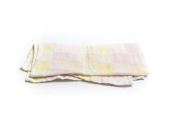 洗碗布或在白色背景隔绝的桌布 库存照片