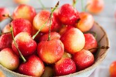 碗新鲜的湿桃红色樱桃 免版税库存照片