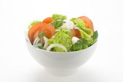 碗新鲜的莴苣自然葱沙拉蕃茄 免版税库存照片