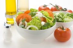 碗新鲜的莴苣自然葱沙拉蕃茄 库存图片