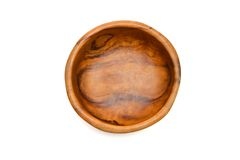 碗木solated的顶视图 图库摄影