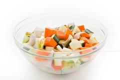 碗未加工的蔬菜 免版税库存照片