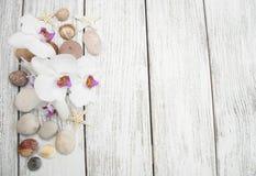 碗构成浮动的gerber温泉向毛巾扔石头 免版税库存图片