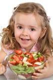 碗果子女孩愉快的小的沙拉 免版税库存图片