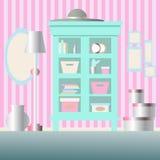 碗柜、镜子、灯、花瓶和箱子在屋子里 免版税库存图片
