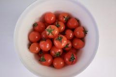 碗水多的成熟红色蕃茄 库存照片