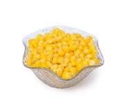 碗水晶新鲜玉米 免版税库存照片