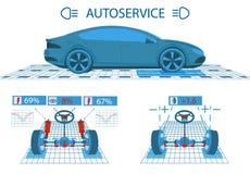 碗汽车推力增强的油替换服务 扫描 图形接口 轮子的诊断对准线 震动吸收体检查,指点 向量例证