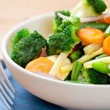 碗油煎的混合的混乱蔬菜 库存照片