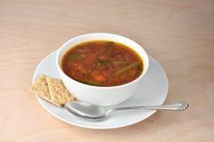碗热的庭院蔬菜汤、匙子和整个五谷saltin 库存照片