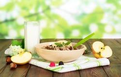 碗燕麦粥、杯子酸奶、果子和坚果在抽象绿色 免版税图库摄影