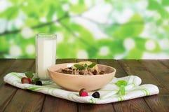 碗燕麦粥、玻璃牛奶、榛子和果子在抽象绿色 免版税库存照片
