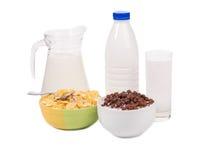 碗玉米片牛奶 免版税图库摄影