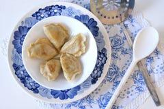 碗用在板材的饺子 库存照片