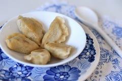 碗用在板材的饺子 库存图片