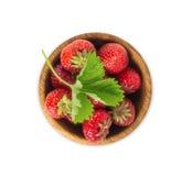 碗用在空白背景查出的草莓 免版税图库摄影
