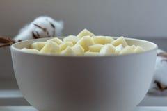 碗用山羊乳干酪Pecorino 免版税库存照片