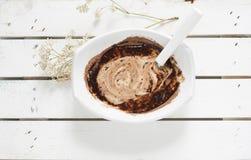 碗用巧克力和奶油 图库摄影