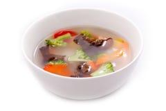 碗用椎茸蔬菜汤 免版税图库摄影