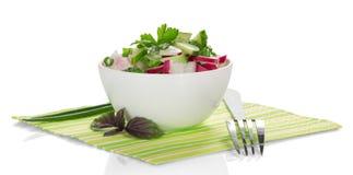 碗用沙拉、蓬蒿和叉子 免版税库存图片