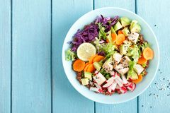 碗用鲕梨、萝卜、圆白菜无头甘蓝、红萝卜和莴苣叶子烤鸡肉、糙米和新鲜蔬菜沙拉  免版税库存照片