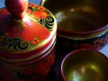 碗筷 特写镜头 Khokhloma -一个古老俄国民间工艺XVII世纪 传统元素Khokhloma 免版税库存图片