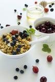 碗自创格兰诺拉麦片用草莓、蓝莓、樱桃、鹅莓、黑醋栗和蜂蜜在白色木背景 库存图片