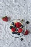 碗草莓和蓝莓 库存照片